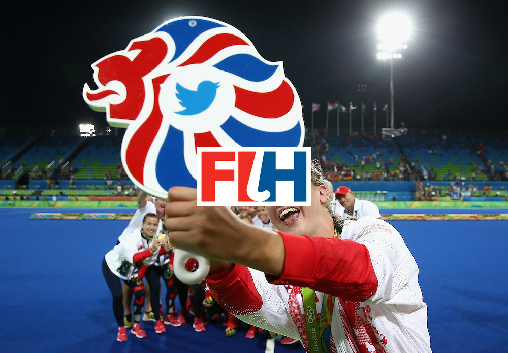 RIO DE JANEIRO, BRAZIL - AUGUST 19:  Team Great Britain pose with their gold medals for a selfie taken by Lily Owsley after defeating Netherlands in the Women's Gold Medal Match on Day 14 of the Rio 2016 Olympic Games at the Olympic Hockey Centre on August 19, 2016 in Rio de Janeiro, Brazil.  (Photo by David Rogers/Getty Images)