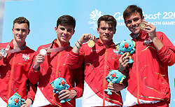 England's Noah Williams (left) and Matthew Dixon (silver) alongside Daniel Goodfellow and Tom Daley (gold) with their medals in the Men's Synchronised 10m Platform Final at the Optus Aquatic Centre during day nine of the 2018 Commonwealth Games in the Gold Coast, Australia.