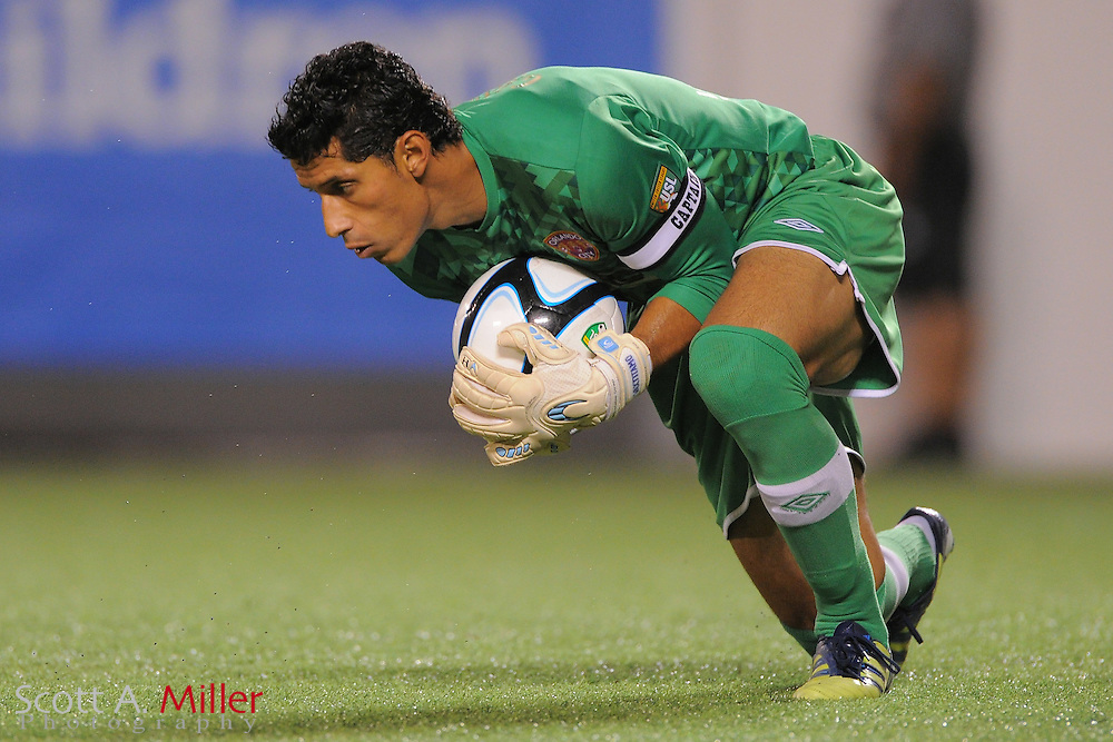 Orlando City goalkeeper Miguel Gallardo (1) in action during the Lions game against the L.A. Blues in their USL-Pro game at the Citrus Bowl on May 24, 2012 in Orlando, Fla. ..©2012 Scott A. Miller..