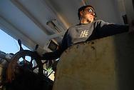 Anzio, 29/12/2007: battuta di pesca con le rapide sull'imbarcazione Rinascita. Il capitano Giorgio, 57 anni e da più di 40 anni in mare