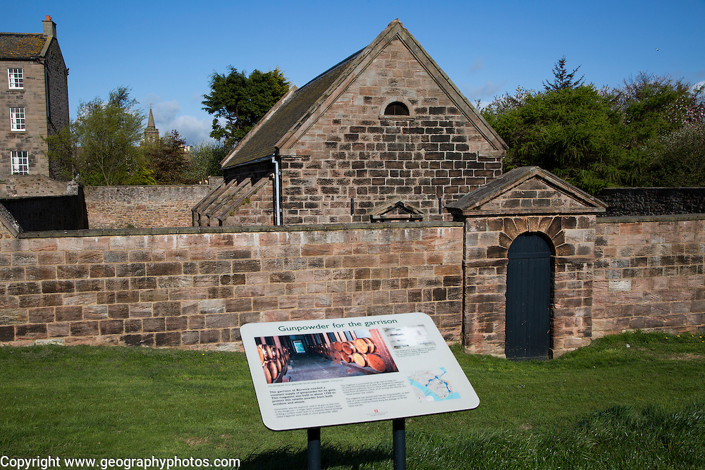 Information board about gunpowder store, Berwick-upon-Tweed, Northumberland, England, UK