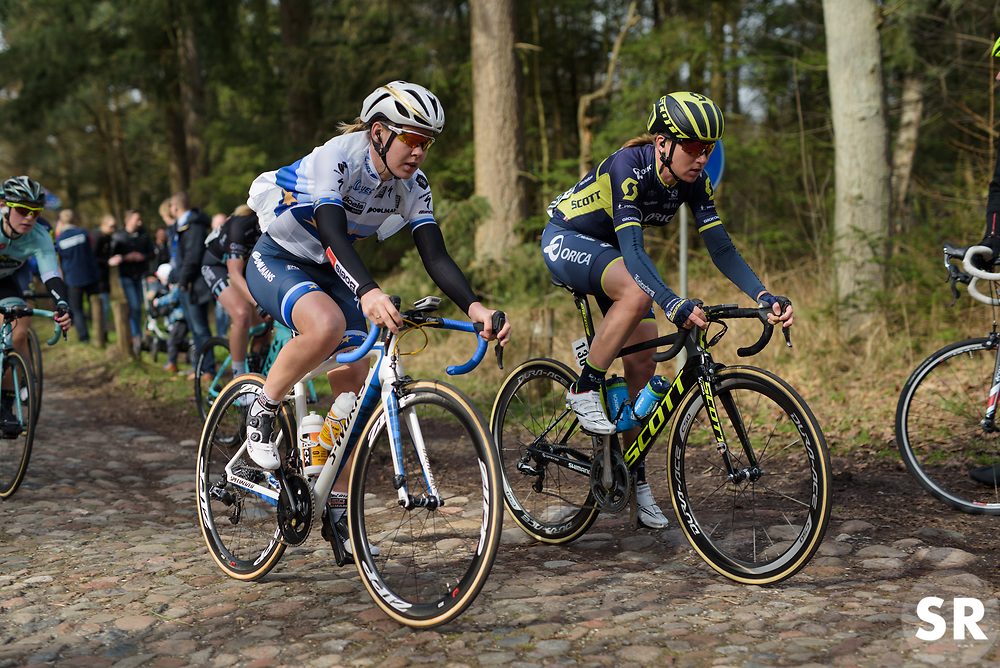 Anna van der Breggen and Annemiek van Vleuten approach the end of the early cobbles at Ronde van Drenthe 2017. A 152 km road race on March 11th 2017, starting and finishing in Hoogeveen, Netherlands. (Photo by Sean Robinson/Velofocus)