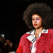 Jayne Pierson showcases it latest collection at Fashion Scout LFW AW19 at Freemasons' Hall, London, UK. 15 Feb 2019