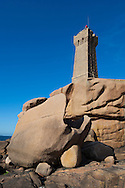 Lighthouse at Cote de Granit Rose, Ploumanach, Brittany, France