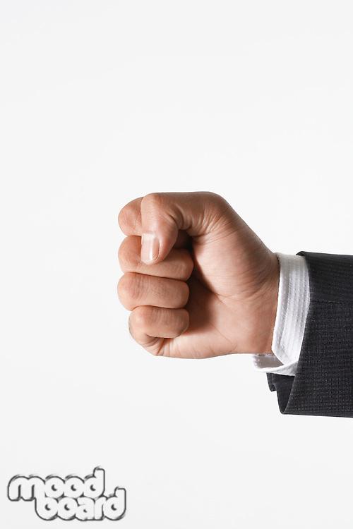 Man making fist close-up of hand