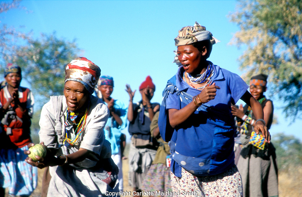 Deniui village near Tsumkwe in Kalahari Desert East Namibia one of most heavily studied peoples. San bushmen have an oriental look and heart-shaped faces. .Namibia's earliest inhabitants and one of the most heavily studied peoples in the history of anthropology. .They enjoy many interesting traditional games and dances. One such game involves dancing whilst tossing the melon from one to another, to the singing and clapping of the rest of the village...