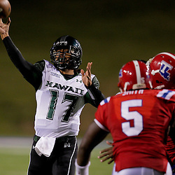 Sep 30, 2009; Ruston, LA, USA;  Hawaii Warriors quarterback Bryant Moniz (17) throws a pass against the Louisiana Tech Bulldogs in the second half at Joe Aillet Stadium. Louisiana Tech defeated Hawaii 27-6. Mandatory Credit: Derick E. Hingle-US PRESSWIRE