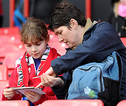 Spectators at the UEFA Women's Champions League match between Bristol Academy Women and FFC Frankfurt at Ashton Gate on 21 March 2015 in Bristol, England - Photo mandatory by-line: Paul Knight/JMP - Mobile: 07966 386802 - 21/03/2015 - SPORT - Football - Bristol - Ashton Gate Stadium - Bristol Academy v FFC Frankfurt - UEFA Women's Champions League