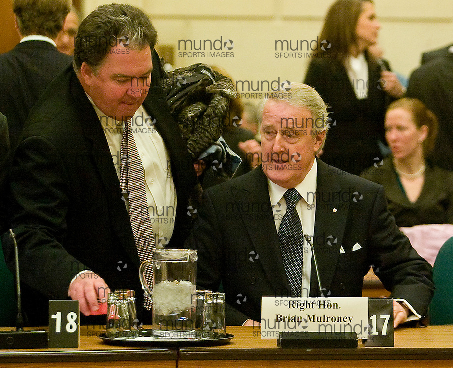Ottawa, Ontario ---13/12/07--- Former Canadian Prime Minister Brian Mulroney sits before the House of Commons ethics committee in Ottawa, Ontario, Thursday 13 December, 2007 to testify about his dealings with German-Canadian businessman Karlheinz Schreiber..GEOFF ROBINS AFP