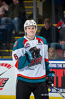KELOWNA, CANADA - JANUARY 30: Kaedan Korczak #6 of the Kelowna Rockets stands on the ice against the Seattle Thunderbirds on January 30, 2019 at Prospera Place in Kelowna, British Columbia, Canada.  (Photo by Marissa Baecker/Shoot the Breeze)