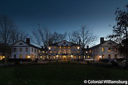 Christmas season at dusk, the Williamsburg Inn.