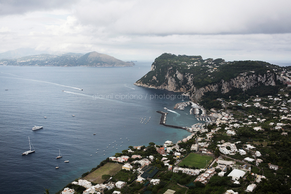 ANACAPRI, ITALY - 22 JULY 2014: A view of Capri and of Sorrento in mainland Italy (in the background) from Villa San Michele in Anacapri, a small comune on the island of Capri, Italy, on July 22nd 2014.<br /> <br /> New York City Mayor Bill de Blasio arrived in Italy with his family Sunday morning for an 8-day summer vacation that includes meetings with government officials and sightseeing in his ancestral homeland.