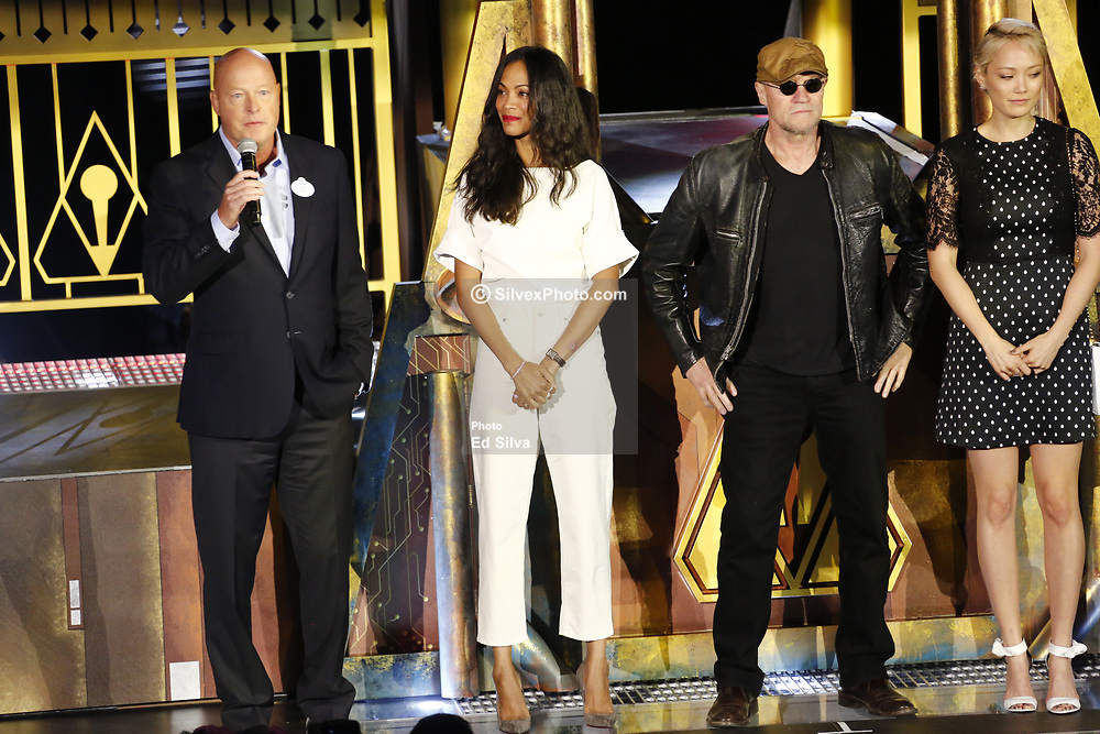ANAHEIM, CA - MAY 25: (L-R) Chairman of Walt Disney Parks and Resorts, Bob Chapek, Zoe Saldana, who plays Gamora, Michael Rooker, plays Yondu Udonta, Pom Klementieff, plays Mantis attend Guardians for the Galaxy: Mission – BREAKOUT! Grand Opening Ceremony attraction on May 25, 2017 at the Disneyland Resort in Anaheim, California USA. Byline, credit, TV usage, web usage or link back must read SILVEXPHOTO.COM. Failure to byline correctly will incur double the agreed fee. Tel: +1 714 504 6870.