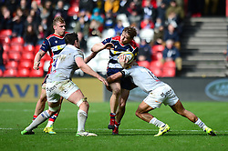Jason Woodward of Bristol Rugby is tackled by Jonathan Joseph of Bath Rugby - Mandatory by-line: Dougie Allward/JMP - 26/02/2017 - RUGBY - Ashton Gate - Bristol, England - Bristol Rugby v Bath Rugby - Aviva Premiership