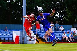 Danny Clarke of Alfreton Town heads the ball - Mandatory by-line: Ryan Crockett/JMP - 07/07/2018 - FOOTBALL - North Street, Alfreton - Alfreton, England - Alfreton Town v Doncaster Rovers - Pre-season friendly