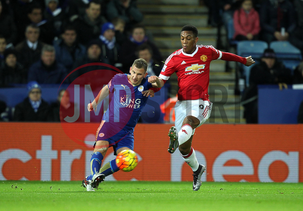 Anthony Martial of Manchester United puts Marc Albrighton of Leicester City under pressure - Mandatory byline: Robbie Stephenson/JMP - 28/11/2015 - Football - King Power Stadium - Leicester, England - Leicester City v Manchester United - Barclays Premier League