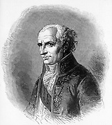 Antoine-Laurent Jussieu (1748-1836), French botanist born in Lyon .Nephew of the botanist Bernard de Jussieu.  He studied medicine and graduated in 1770.  He was professor of botany at the Jardin des Plantes from 1770-1826 and his classification of many of the the plant families is still used. From 'The Vegetable World', by Louis Figuier. (London, c1880). Engraving.