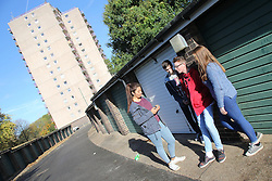 Teenager group near flats