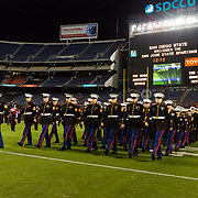 20 October 2018: The Marines takes the field during pre-game ceremony's prior to San Diego State taking on San Jose State. The Aztecs beat the Spartans 16-13 Saturday night at SDCCU Stadium.