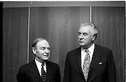 Australian Prime Minister Visits Ireland.   (H79)..1974..23.12.1974..12.23.1974..23rd December 1974..As part of his tour of E.E.C. Capital Cities,Mr Gough Whitlam, the Australian Prime Minister visited Dublin today. In Dublin he will have talks with An Taoiseach, Mr Liam Cosgrave...An Taoiseach,Mr Liam Cosgrave and the Australian prime Minister,Mr Gough Whitlam pose for the press inside the terminal building. DFA,