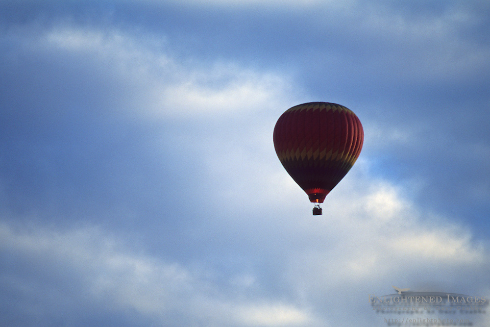 Hot air balloon and clouds, Oakville, Napa Valley, Napa County, California