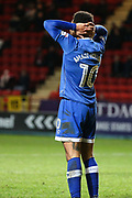 Aaron Holloway of Oldham Athletic shows his frustration after his shot is blocked during the EFL Sky Bet League 1 match between Charlton Athletic and Oldham Athletic at The Valley, London, England on 6 January 2018. Photo by Toyin Oshodi.