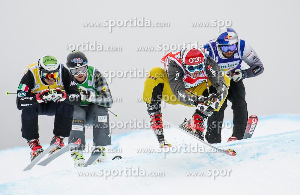 22.12.2013, Haunold Innichen, Wien, ITA, FIS Ski Cross Weltcup, Achtelfinale der Herren im Bild Daniel Bohnacker (GER, red), Brady Leman (CAN, green), John Teller (USA, blue), Marco Tomasi (ITA, yellow) // during eight finals of men of FIS Ski Cross World Cup at Haunoldi, San Candido, 2013-12-22, EXPA Pictures © 2013 PhotoCredit: EXPA/ Michael Gruber