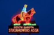 Intricate neon art in Rapid City, South Dakota.