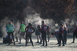 © Licensed to London News Pictures. 16/12/2017. London, UK. Steam bellows out of a group of people exercising on a  frost covered Richmond Park. Parts of the UK are experiencing freezing temperatures today with snow expected in parts. London, UK. Photo credit: Ben Cawthra/LNP
