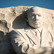 Front view of the statue of Dr King by artist Lei Yixin at the Martin Luther King Jr Memorial on the banks of the Tidal Basin in Washington DC.