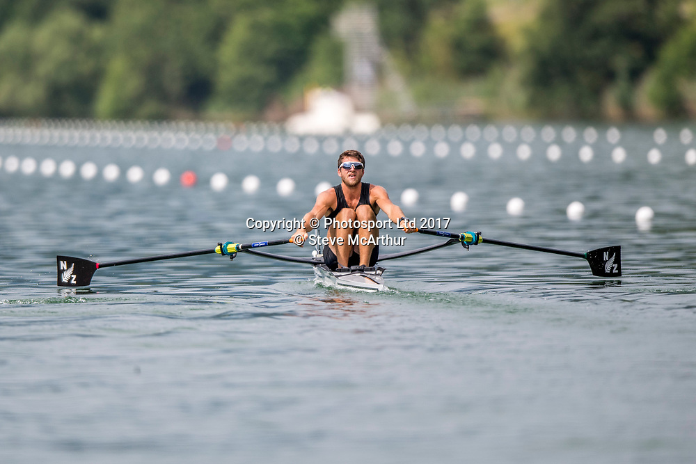 Matthew Dunham (Cambridge RC) NZ Mens Lightweight Single Scull racing the qualification heat at WCIII on the Rotsee, Lucerne, Switzerland, Friday 7th July 2017 © Copyright Steve McArthur / www.photosport.nz