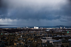 Leith, Edinburgh as seen from the Edinburgh Castle Esplanade.
