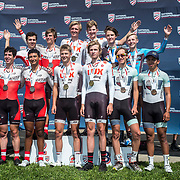 LOUISVILLE, KY - JUN 29: Ben, front row, third from the right, stands at the podium with his LUX teammates after finishing first in the team time trial at the USA Cycling National Championships race on Thursday, June 29, 2017 in Louisville, Ky. (Photo by Jay Westcott/The News & Advance)