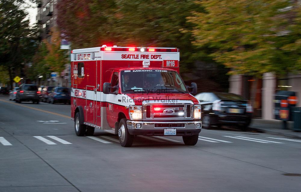 2016 October 10 - Seattle Fire Ambulance in the University District, Seattle, WA, USA. By Richard Walker
