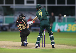 Lewis Hill of Leicestershire Foxes (L) in action - Mandatory by-line: Jack Phillips/JMP - 29/07/2016 - CRICKET - Trent Bridge - Nottingham, United Kingdom - Nottingham Outlaws v Leicester Foxes - Natwest T20 Blast