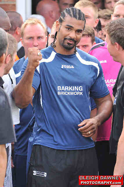 David Haye making an appearance at the Indee Rose Charity Football Tournament at Canvey Island Football Club on 25th July 2010. www.theindeerosetrust.org. Photo credit: © Leigh Dawney