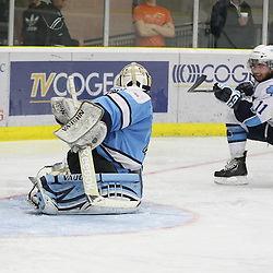 TORONTO,ON - Oct 13: OJHL Tournament action between St.Michael's Buzzer's and Burlington Cougar's at the OJHL Governors Showcase Tournament. Alex Murray #31 of the Burlington Cougars makes the save during second period game action..(Photo By Mike Ivall / OJHL IMAGES)