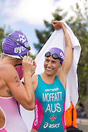 Emma MOFFATT 01:01:35 talks to Liz BLATCHFORD 01:02:58. Urban Geelong ITU Sprint Triathlon Premium Oceania Cup. 2012 Geelong Multi Sport Festival. Eastern Beach, Geelong, Victoria, Australia. 12/02/2012. Photo By Lucas Wroe