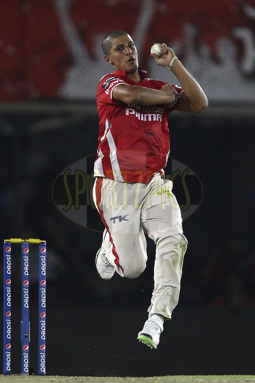 Beuran Hendricks of the Kings XI Punjab sends down a delivery during match 48 of the Pepsi Indian Premier League Season 2014 between the Kings XI Punjab and the Mumbai Indians held at the Punjab Cricket Association Stadium, Mohali, India on the 21st May  2014<br /> <br /> Photo by Shaun Roy / IPL / SPORTZPICS<br /> <br /> <br /> <br /> Image use subject to terms and conditions which can be found here:  http://sportzpics.photoshelter.com/gallery/Pepsi-IPL-Image-terms-and-conditions/G00004VW1IVJ.gB0/C0000TScjhBM6ikg