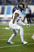 Jacksonville Jaguars cornerback A.J. Bouye (21) chases the action during the week 14 regular season NFL football game against the Tennessee Titans on Thursday, Dec. 6, 2018 in Nashville, Tenn. The Titans won the game 30-9. (©Paul Anthony Spinelli)