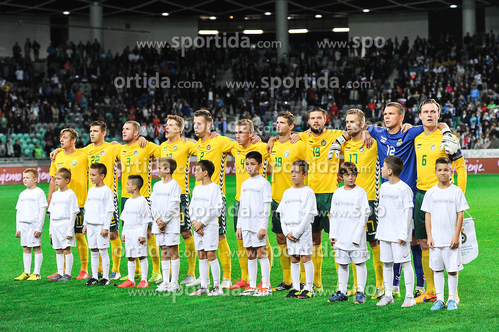 Starting eleven of Lithuania during the EURO 2016 Qualifier Group E match between Slovenia and Lithuania, on October 9, 2015 in SRC Stozice, Ljubljana Slovenia. Photo by Mario Horvat / Sportida