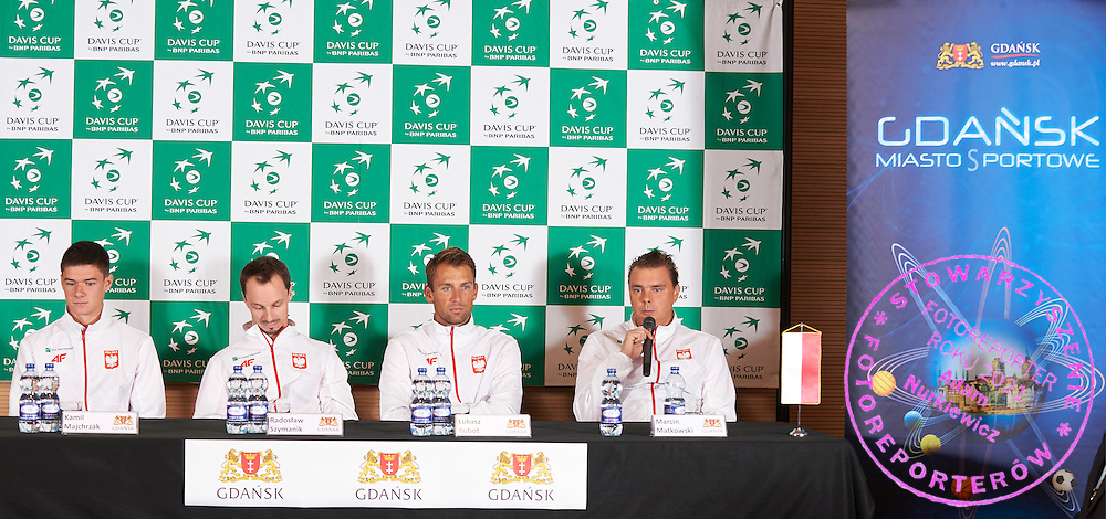 GDANSK, POLAND - 2016 MARCH 01: (L-R) Kamil Majchrzak and Radoslaw Szymanik - captain national team and Lukasz Kubot and Marcin Matkowski all from Poland attend in press conference three days before the Davies Cup / World Group 1st round tennis match between Poland and Argentina at Ergo Arena on March 1, 2016 in Gdansk, Poland<br /> <br /> Picture also available in RAW (NEF) or TIFF format on special request.<br /> <br /> Any editorial, commercial or promotional use requires written permission.<br /> <br /> Mandatory credit:<br /> Photo by &copy; Adam Nurkiewicz / Mediasport