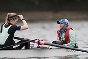 Putney, Great Britain.  2015 Pre Boat Race Fixture, Cambridge University Women's Boat Club vs Imperial College Women's Boat Club, Championship Course, River Thames.  England. <br /> {DOW{  {DATE}<br /> <br /> [Mandatory Credit; Peter Spurrier/Intersport-images]<br /> Crews: CUWBC:<br /> Fanny Belais and Cox, Rosemary Ostfeld.
