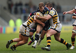Sale's Mark Jennings is tackled by Wasps' Matt Mullan and during the Aviva Premiership match at the AJ Bell Stadium, Sale.