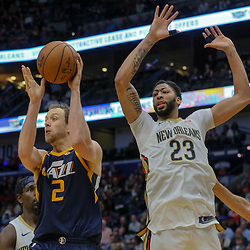 Mar 11, 2018; New Orleans, LA, USA; Utah Jazz forward Joe Ingles (2) is defended by New Orleans Pelicans forward Anthony Davis (23) during the second half at the Smoothie King Center. Mandatory Credit: Derick E. Hingle-USA TODAY Sports