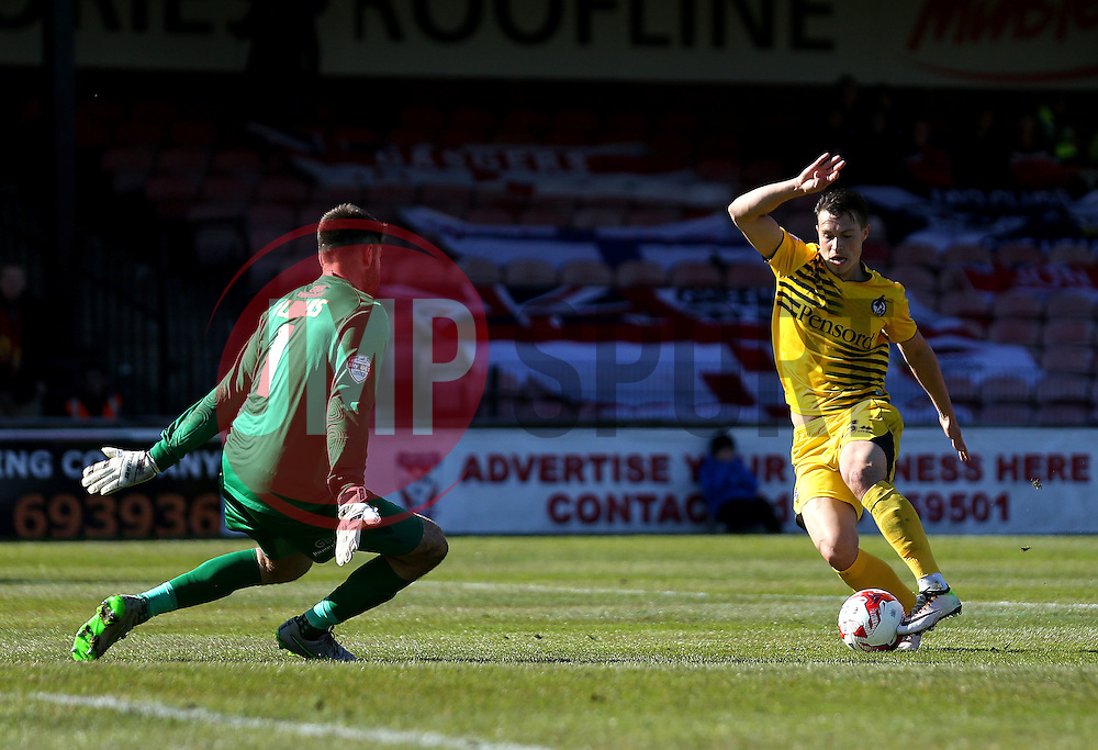 Billy Bodin of Bristol Rovers goes round Scott Flinders of York City as he scores his second goal - Mandatory by-line: Robbie Stephenson/JMP - 30/04/2016 - FOOTBALL - Bootham Crescent - York, England - York City v Bristol Rovers - Sky Bet League Two