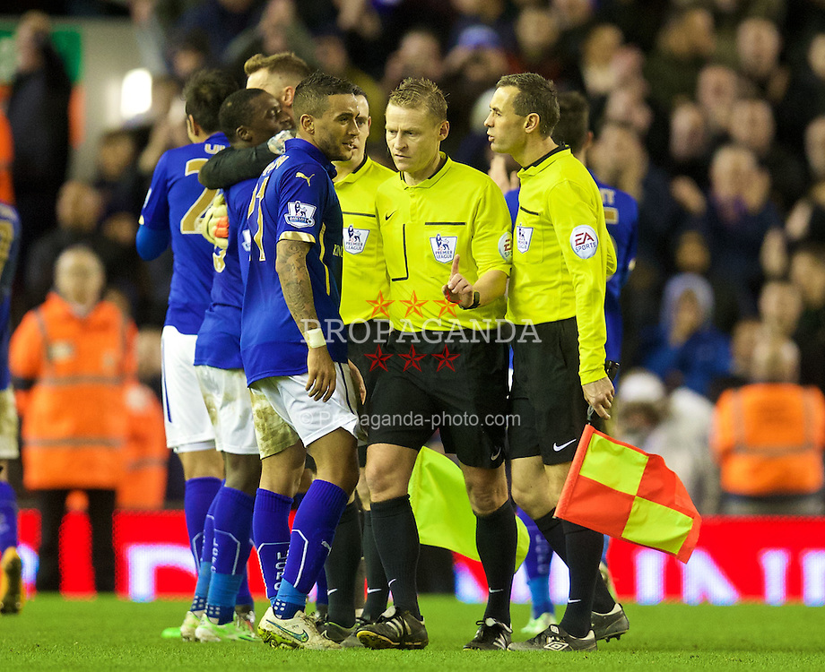 LIVERPOOL, ENGLAND - Thursday, New Year's Day, January 1, 2015: Leicester City's Danny Simpson complains to referee Mike Jones after the 2-2 draw with Liverpool during the Premier League match at Anfield. (Pic by David Rawcliffe/Propaganda)