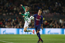 December 5, 2017 - Barcelona, Catalonia, Spain - FABIO COENTRAO of Sporting CP controls the ball under pressure from DENIS SUAREZ of FC Barcelona during the UEFA Champions League, Group D football match between FC Barcelona and Sporting CP on December 5, 2017 at Camp Nou stadium in Barcelona, Spain. (Credit Image: © Manuel Blondeau via ZUMA Wire)