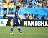 Andrea Pirlo of Italy reacts after going out during the 2014 FIFA World Cup match at Arena das Dunas, Natal<br /> Picture by Stefano Gnech/Focus Images Ltd +39 333 1641678<br /> 24/06/2014