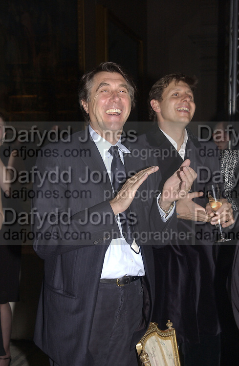 Bryan Ferry. Moet and Chandon fashion tribute to Philip treacy. V. & a. 16 April 2002. © Copyright Photograph by Dafydd Jones 66 Stockwell Park Rd. London SW9 0DA Tel 020 7733 0108 www.dafjones.com